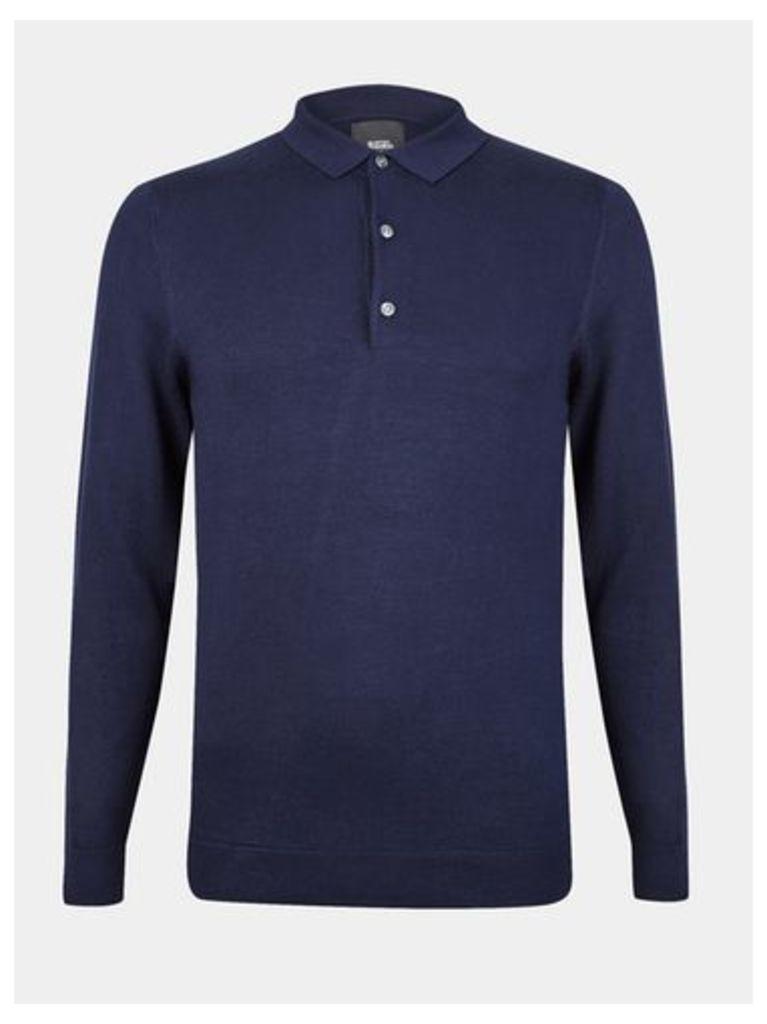 Mens Navy Long Sleeve Knitted Polo Shirt, Navy