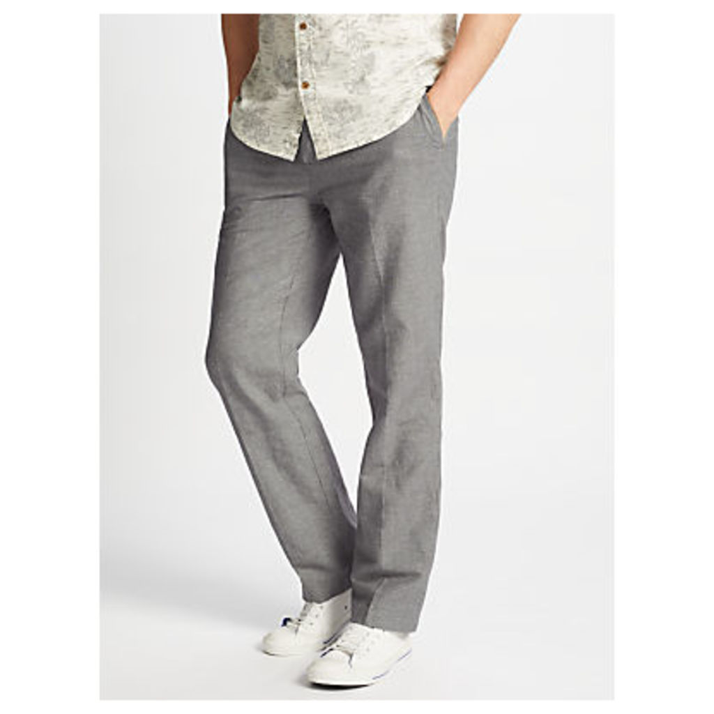 John Lewis Mooring Puppytooth Linen Cotton Trousers, Grey