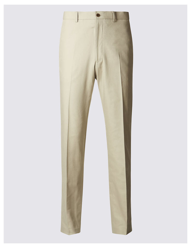 M&S Collection Tailored Fit Pure Cotton Textured Trousers