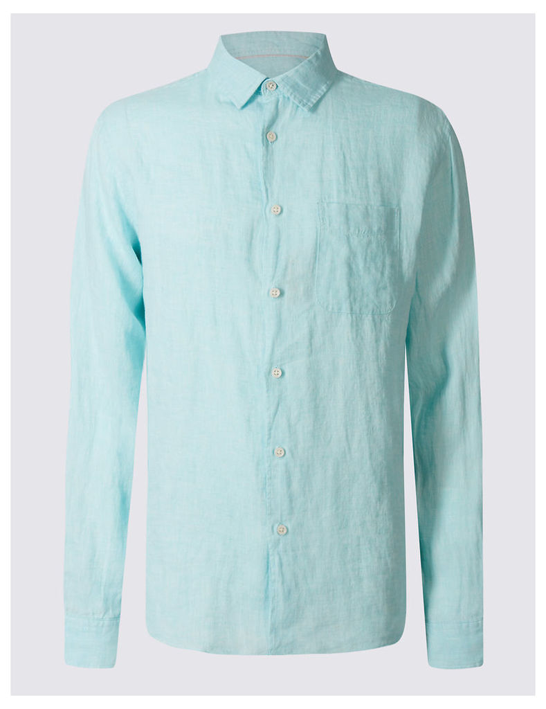 M&S Collection Pure Linen Easy Care Shirt with Pocket