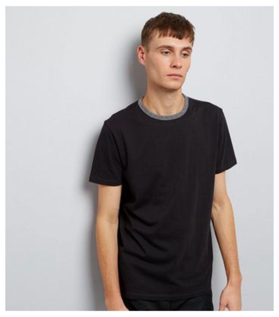 Black Contrast Neck Trim T-Shirt