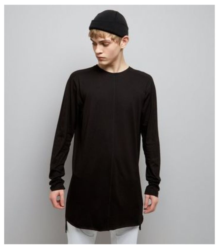 Black Seam Front Longline Long Sleeve T-Shirt