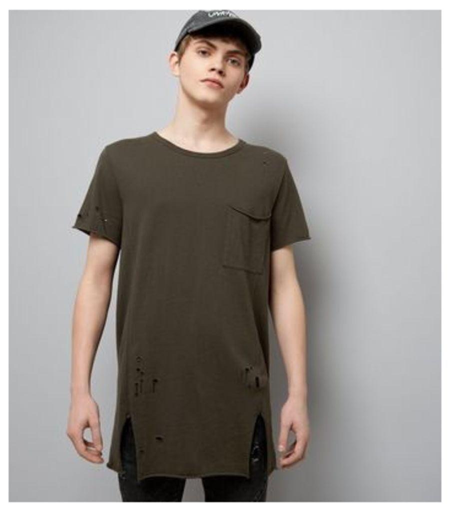 Dark Green Distressed Pocket Front Longline T-Shirt