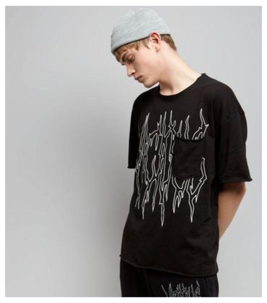Black Viscious Print Pocket Front T-Shirt