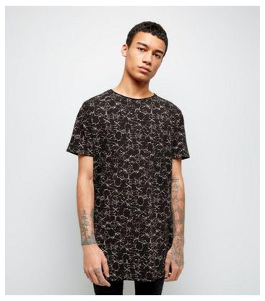 Black Crackle Print Longline T-Shirt