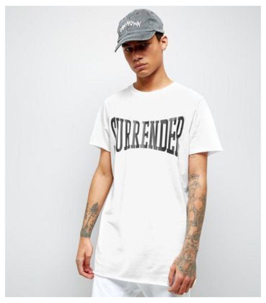 White Surrender Print Oversized T-Shirt