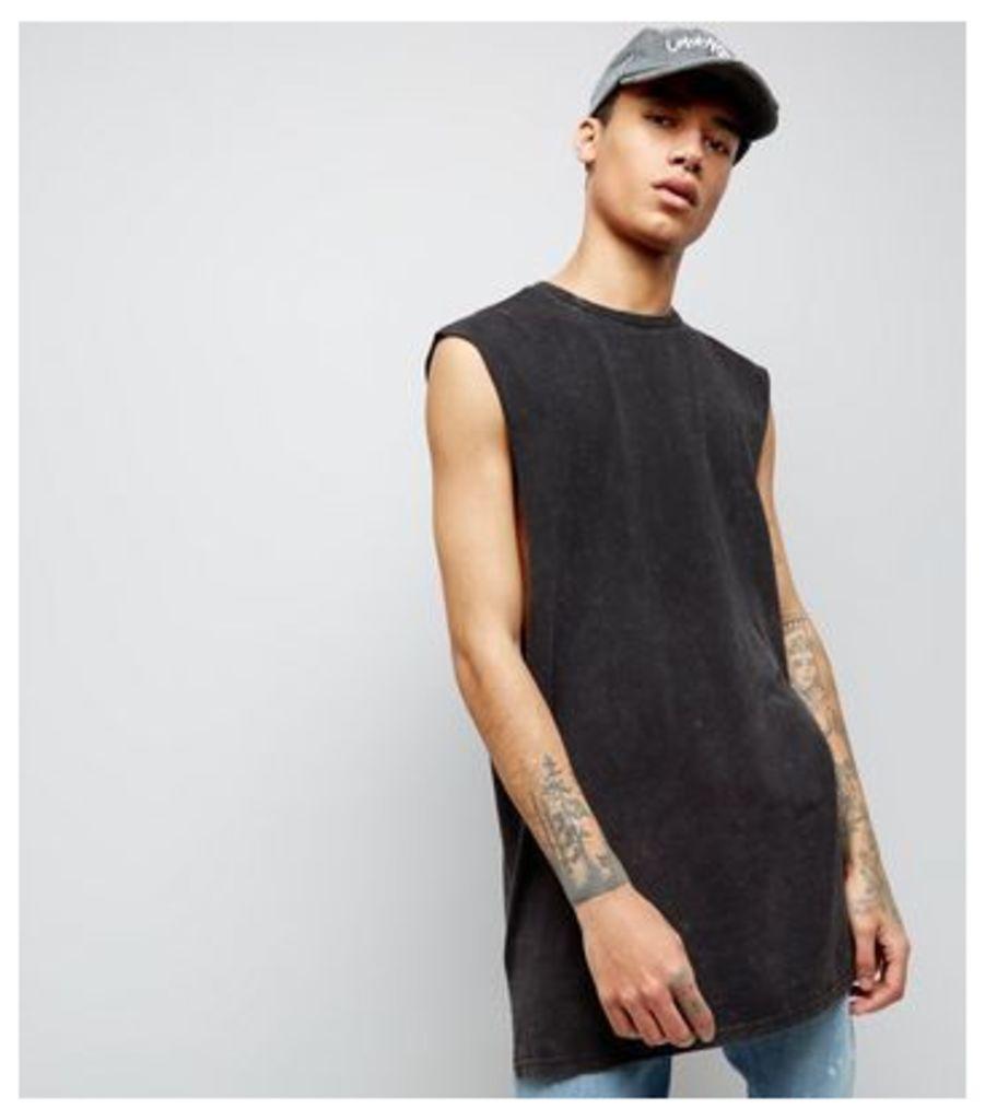 Black Acid Wash Longline Vest