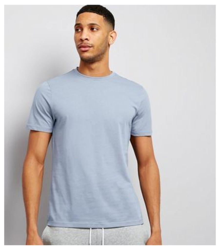 Pale Blue Cotton Crew Neck T-Shirt