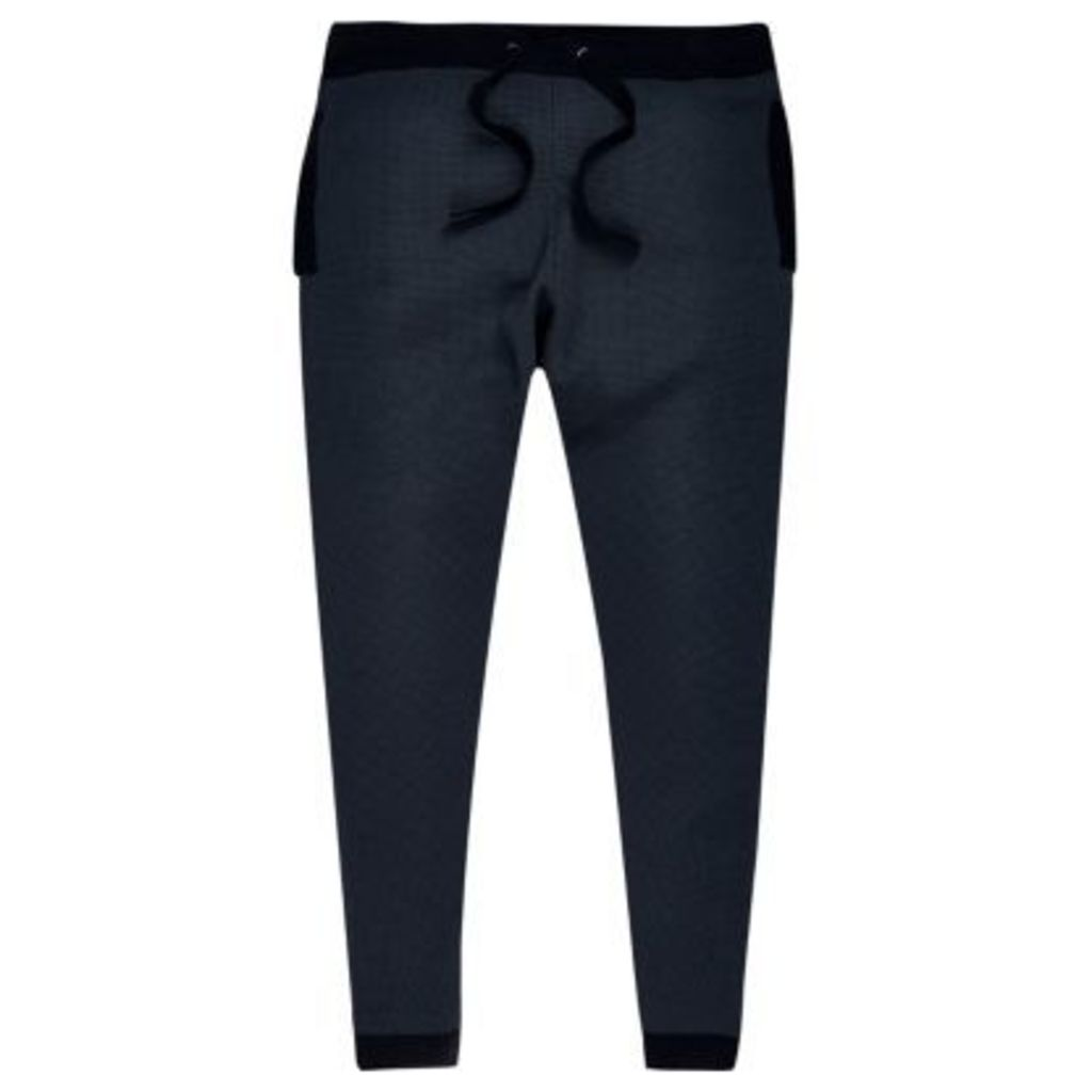 River Island Mens Navy blue sporty joggers