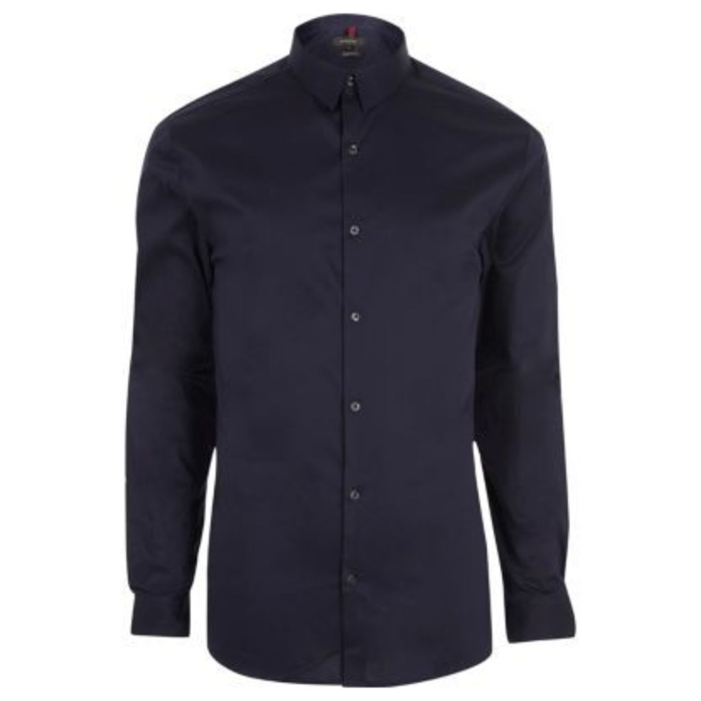 River Island Mens Navy blue muscle fit shirt