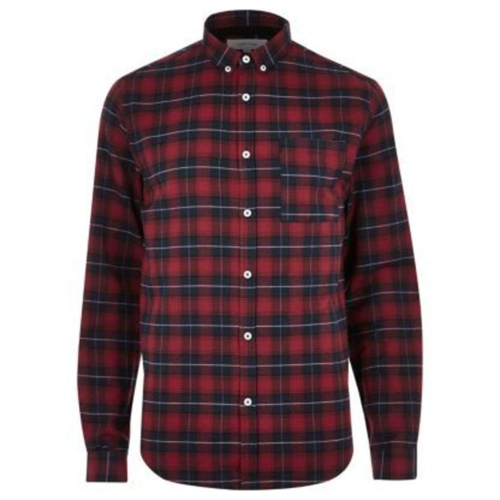 River Island Mens Red casual check shirt