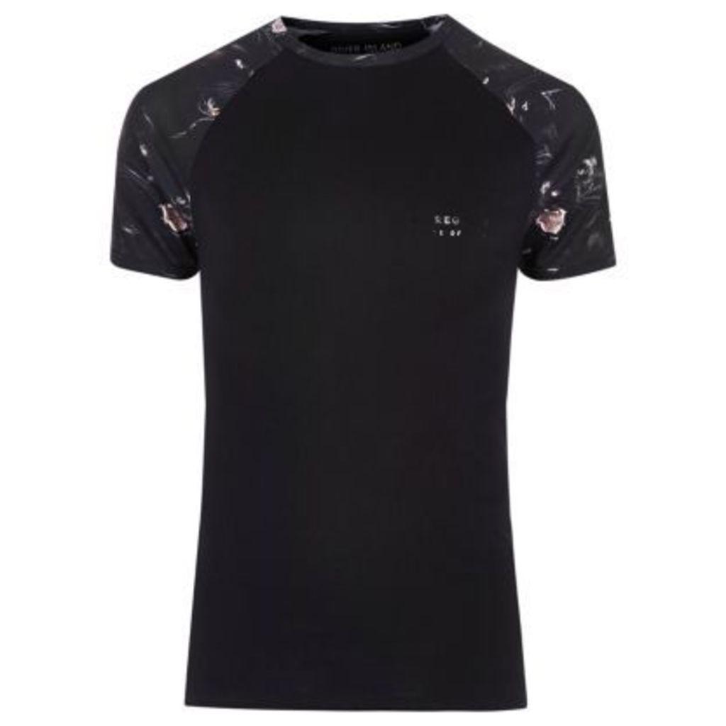 River Island Mens Black panther print raglan sleeve T-shirt