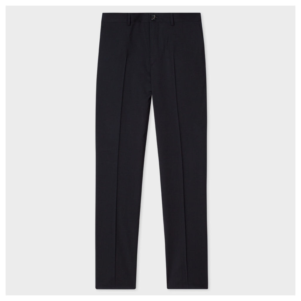 Men's Mid-Fit Black Wool-Mohair Trousers