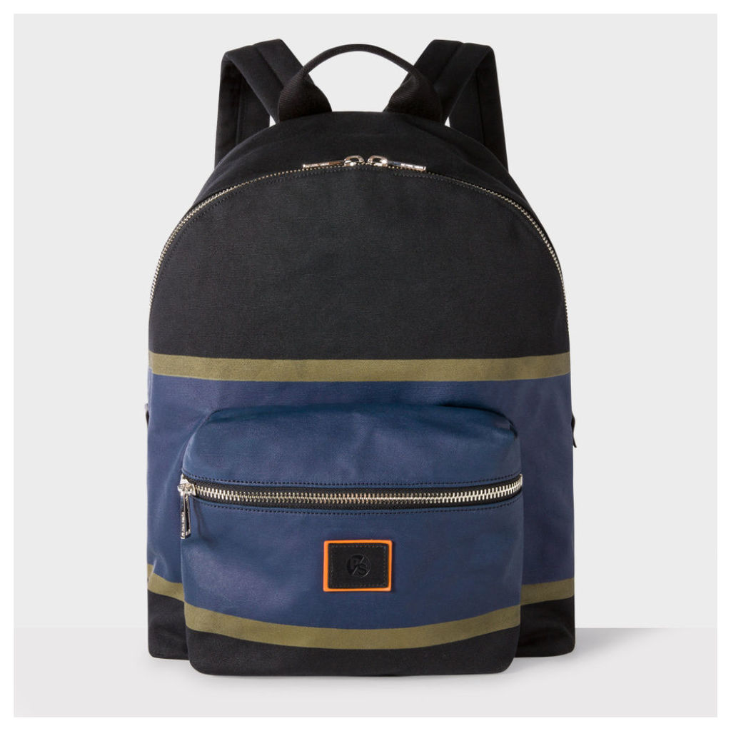 Men's Black And Blue Cotton Backpack