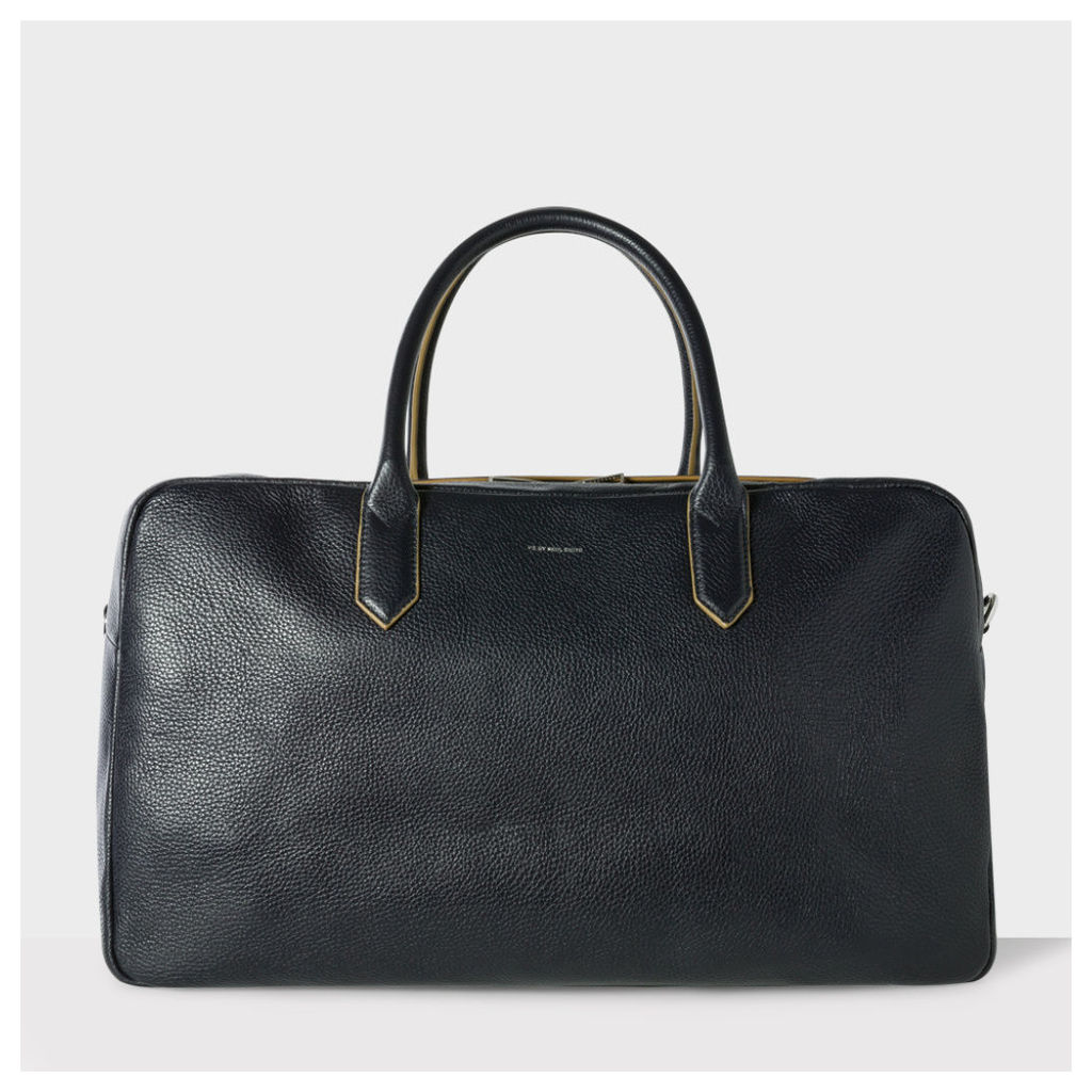 Men's Black Grained Leather Holdall