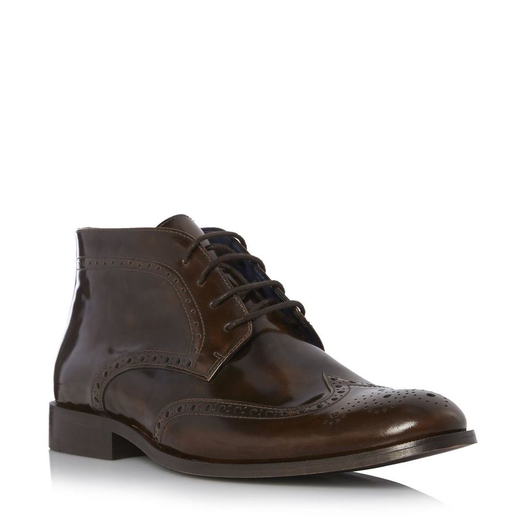 Manhatten High Shine Leather Brogue Boot