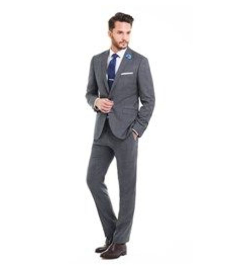 Men's Grey & Navy Prince of Wales Check Extra Slim Fit Suit - Super 120s Wool