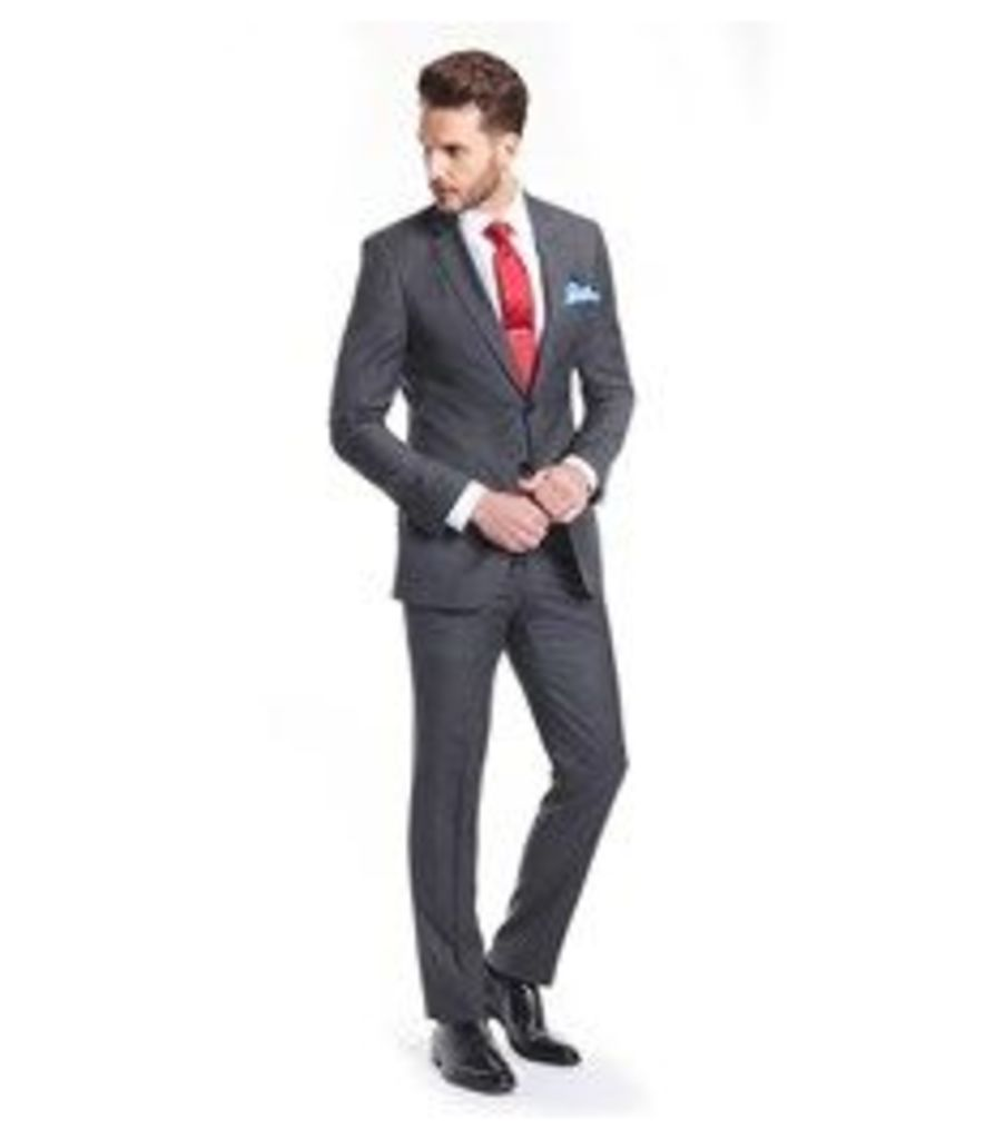 Men's Charcoal Grey Windowpane Check Slim Fit Suit - Super 120s Wool