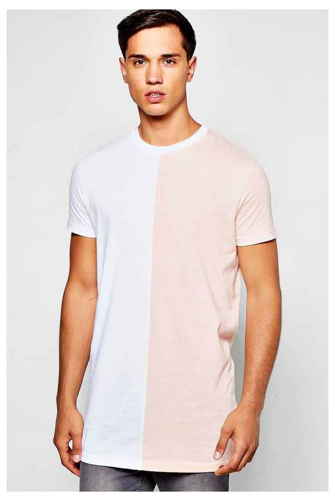 Colour Block Half And Half T-Shirt - pink