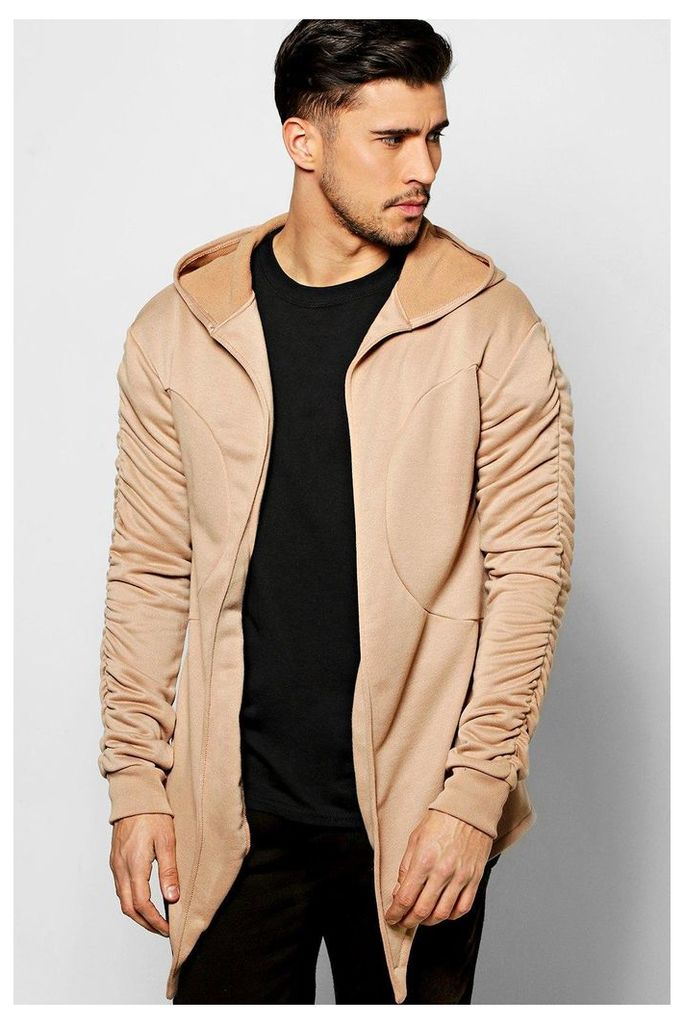 Hoodie With Ruched Sleeves - taupe