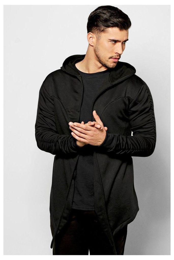 Hoodie With Ruched Sleeves - black