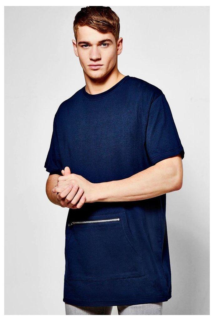 T-Shirt With Kangaroo Pocket - navy