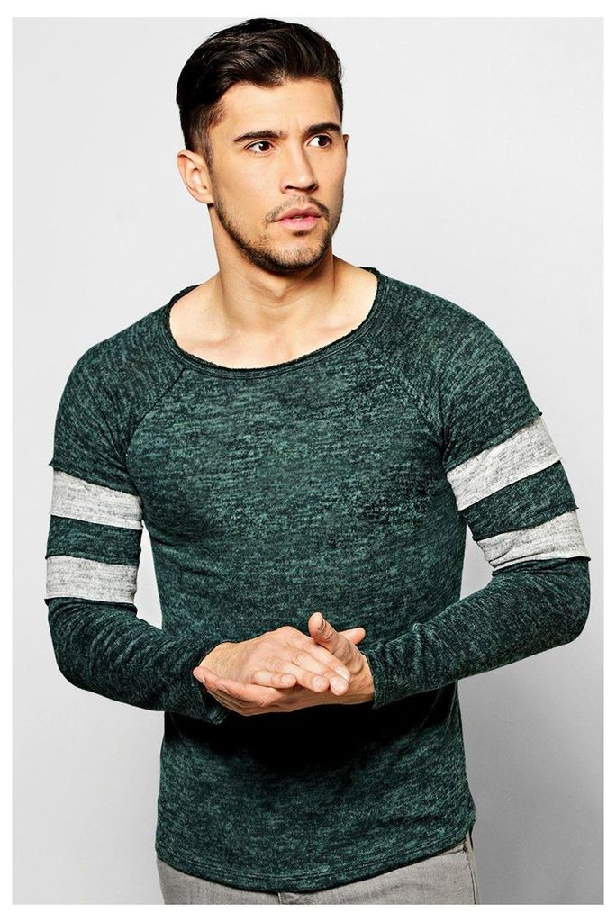 Knit Jumper with Contrast Striped Sleeves - teal