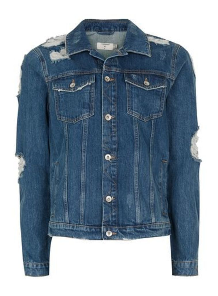 Mens Blue Extreme Ripped Denim Jacket, Blue