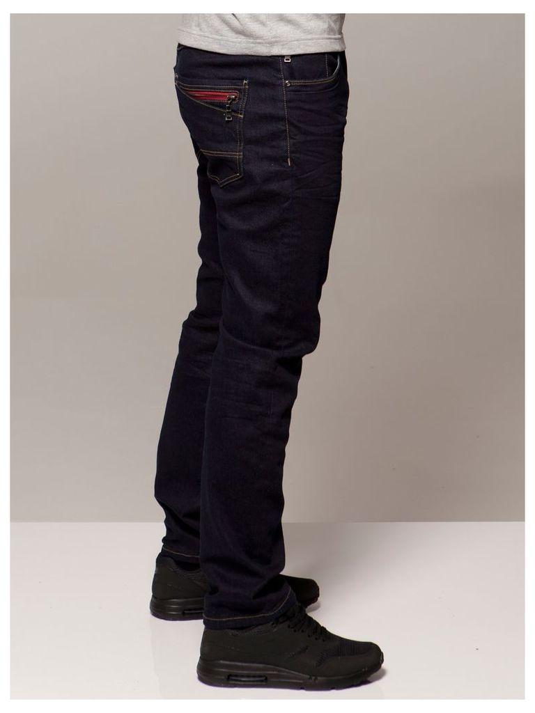 Mens Tapered Fit Dark Wash Denim Jeans