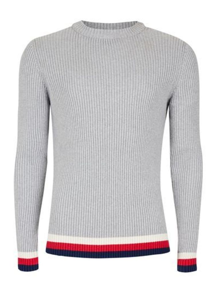 Mens Grey Sports Tipping Textured Jumper, Grey