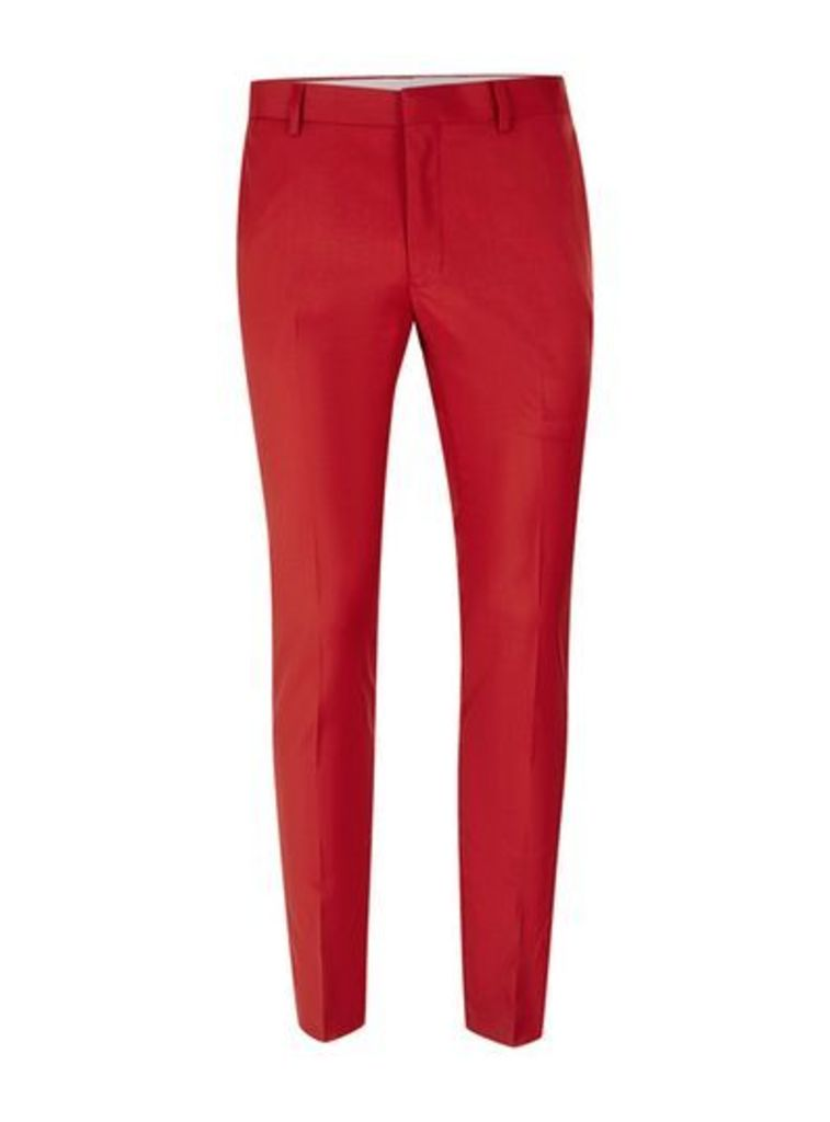 Mens Bright Red Ultra Skinny Fit Suit Trousers, Red
