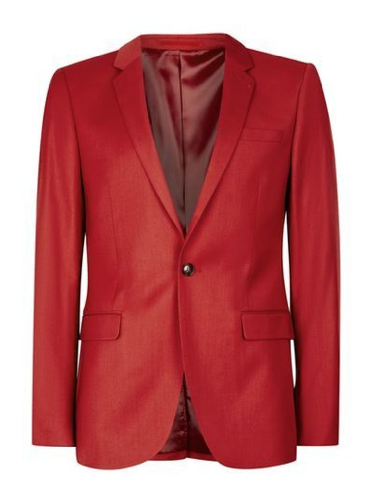 Mens Bright Red Ultra Skinny Fit Suit Jacket, Red