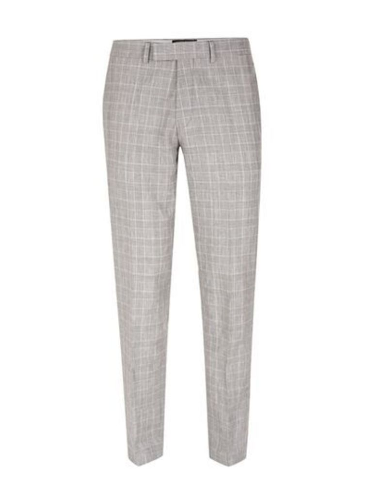 Mens Grey Check Skinny Fit Suit Trousers, Grey