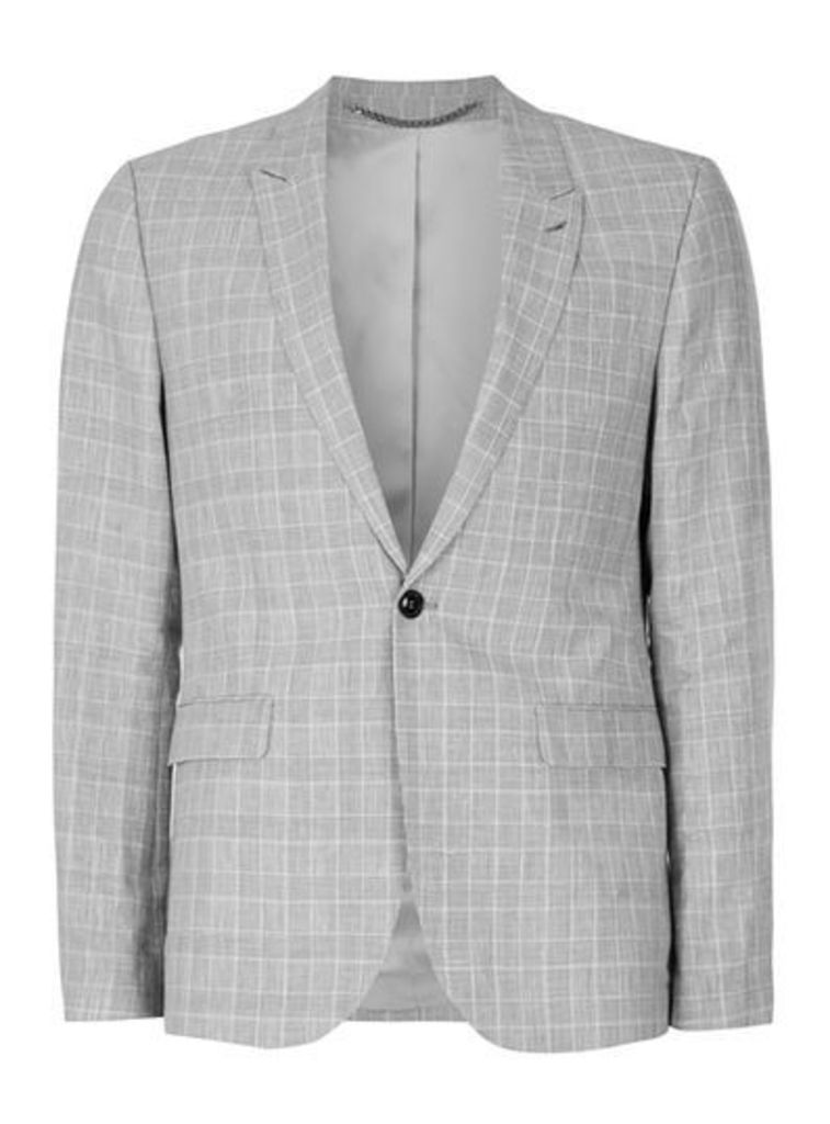 Mens Grey Check Skinny Fit Suit Jacket, Grey