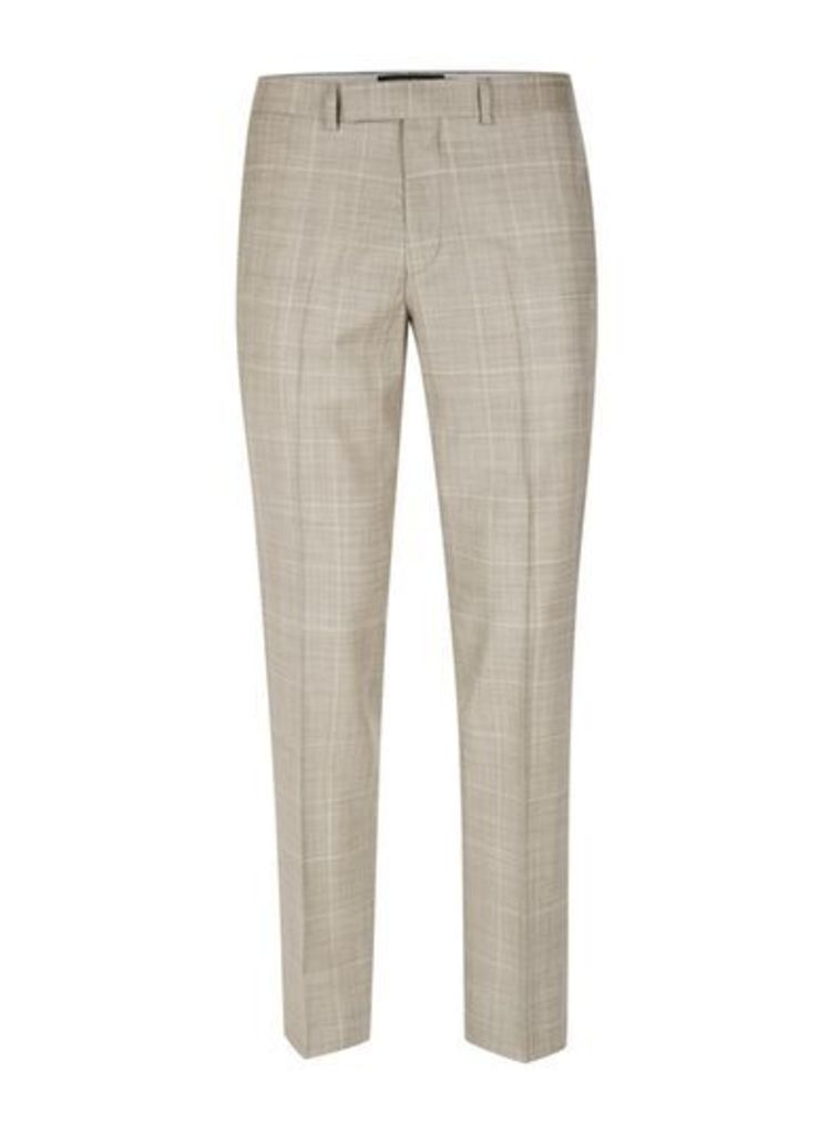 Mens Brown Stone Window Check Skinny Fit Suit Trousers, Brown