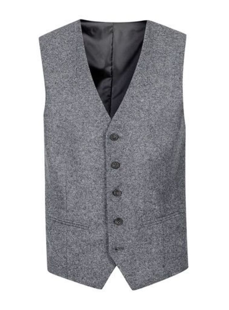 Mens SELECTED HOMME Grey Salt and Pepper Wool Rich Waistcoat, Grey