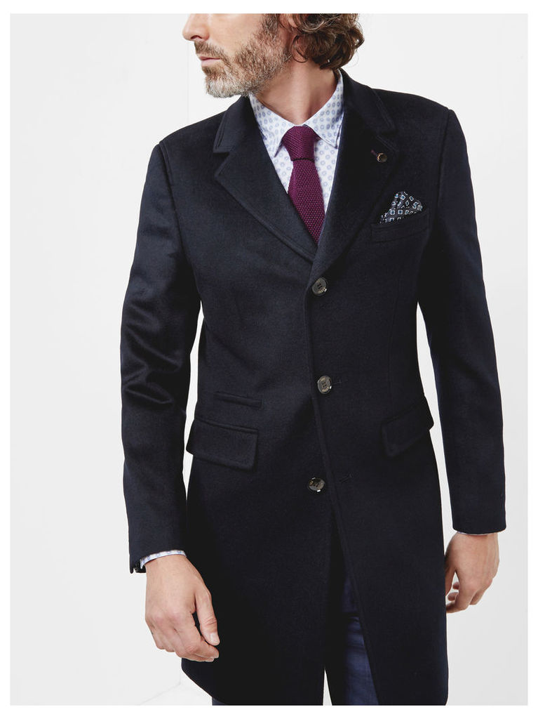 Ted Baker Three button overcoat Navy