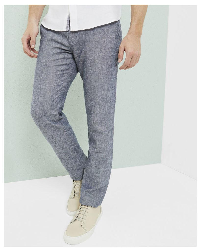 Ted Baker Linen-blend slim fit trousers Blue