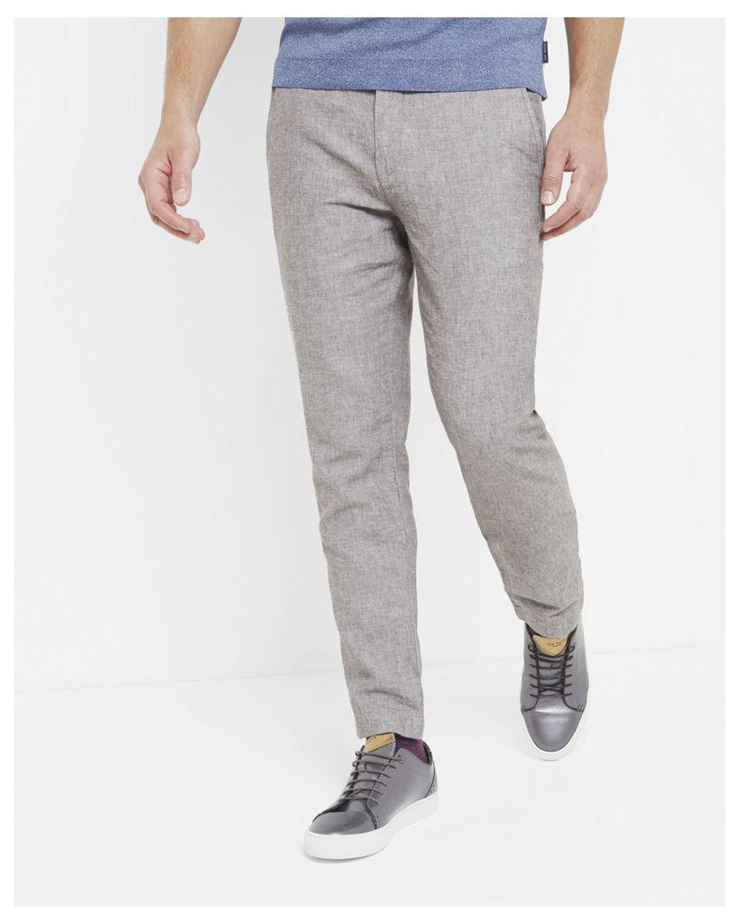 Ted Baker Linen-blend slim fit trousers Natural