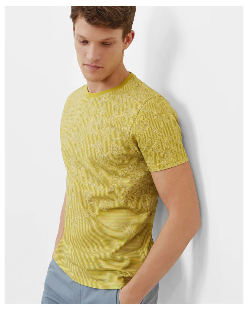 Ted Baker Geo and striped print cotton T-shirt Lime