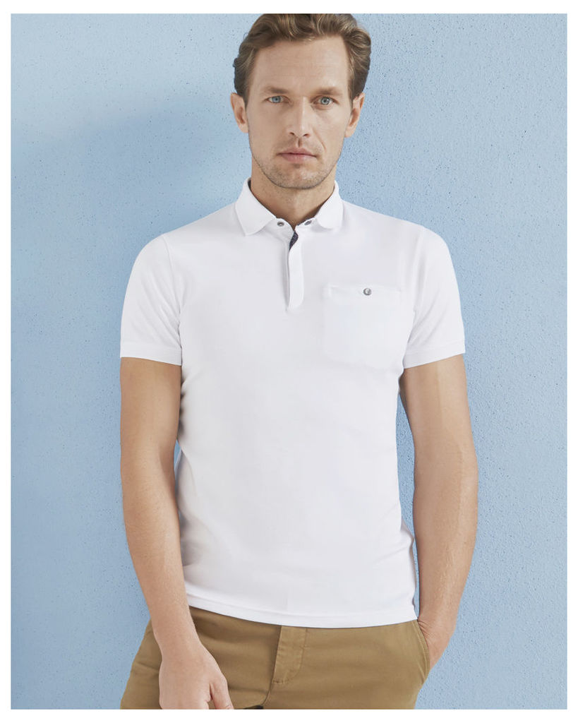 Ted Baker Flat knit collar cotton polo shirt White