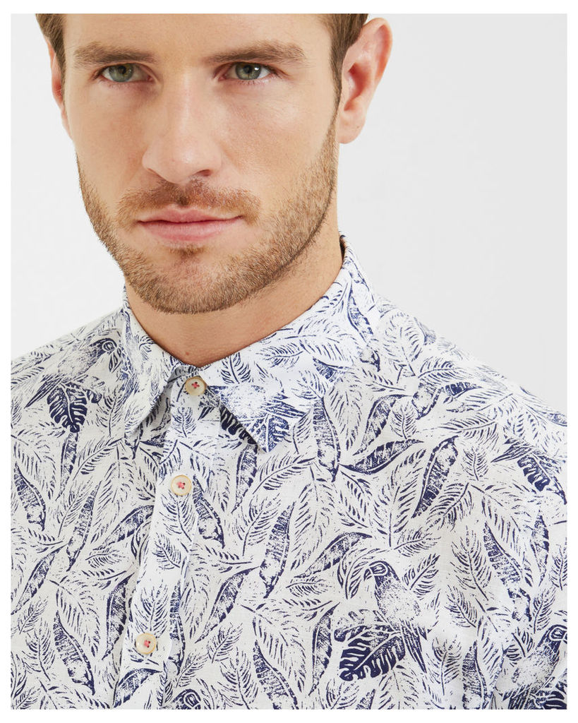 Ted Baker Leaf and bird print cotton shirt White