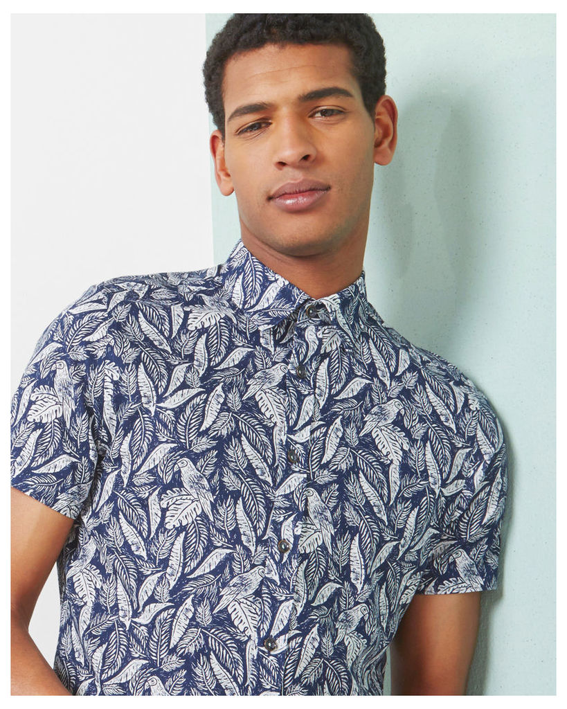 Ted Baker Leaf and bird print cotton shirt Navy
