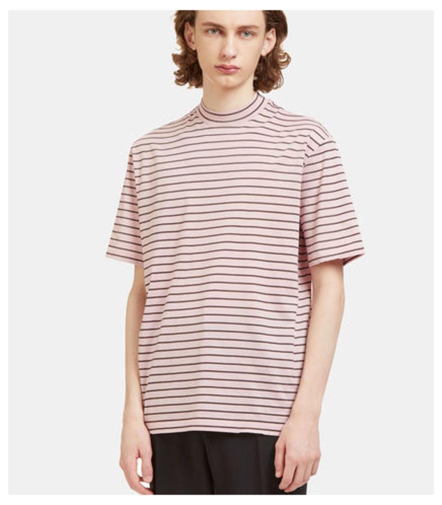 Striped Mock Neck T-Shirt