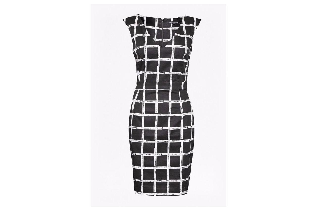 Sleeveless Check Fitted Dress  - black/white
