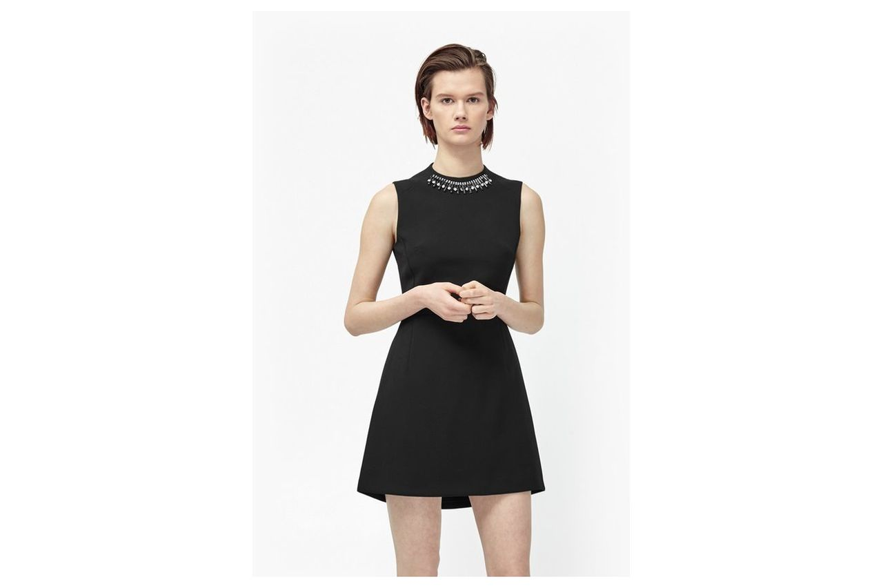 Sundae Suiting Embellished Collar Dress - black