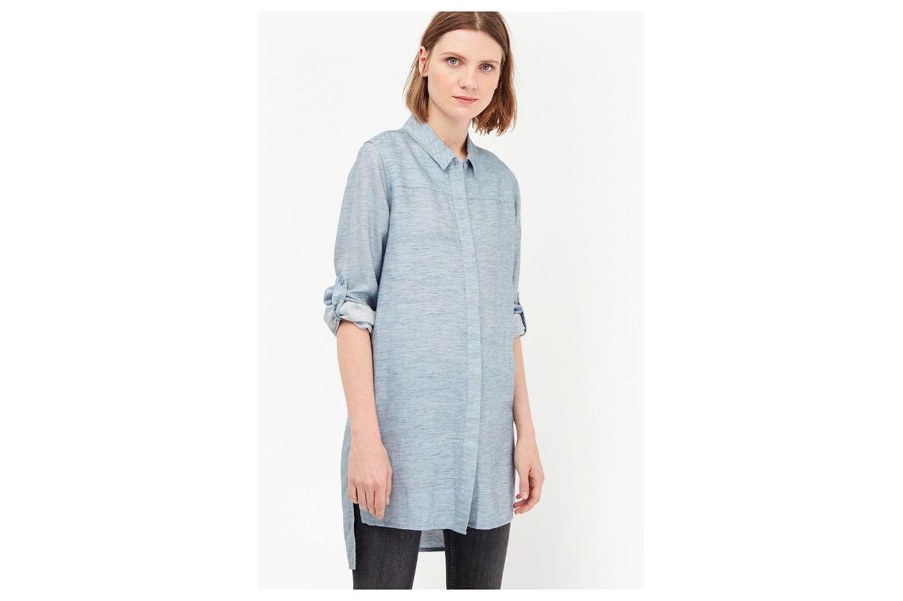 Tencel Chambray Shirt Dress - pale blue
