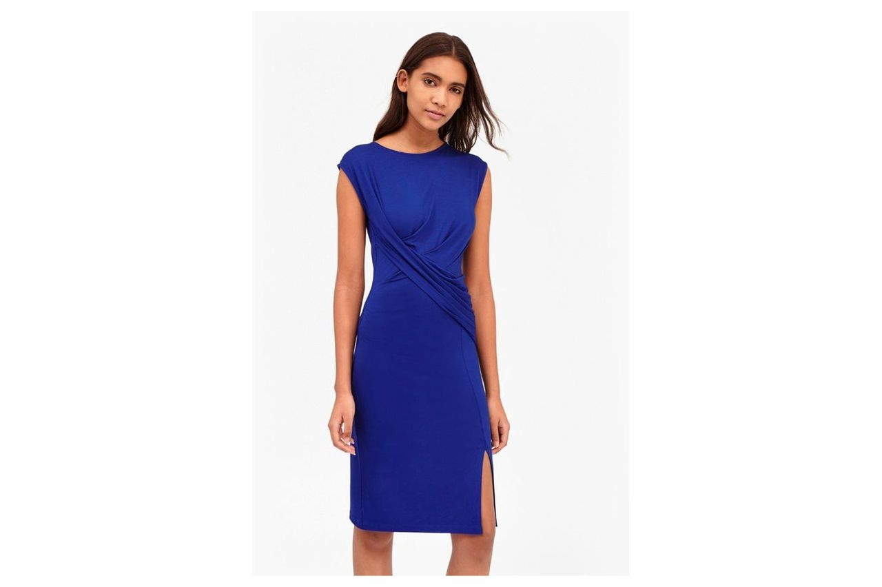 Shadow Dance Wrap Jersey Dress - royal blue