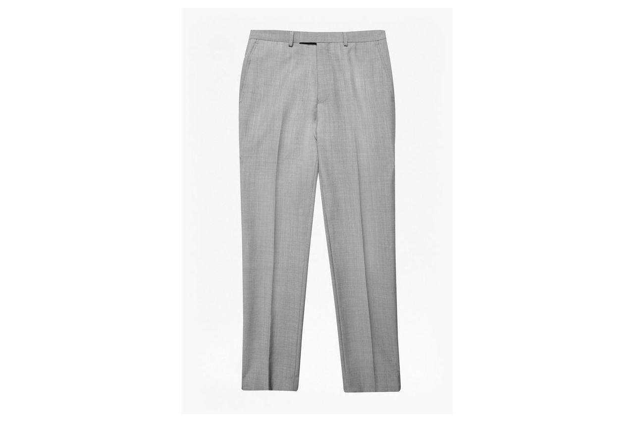Slim Light Grey Suit Trousers - light grey