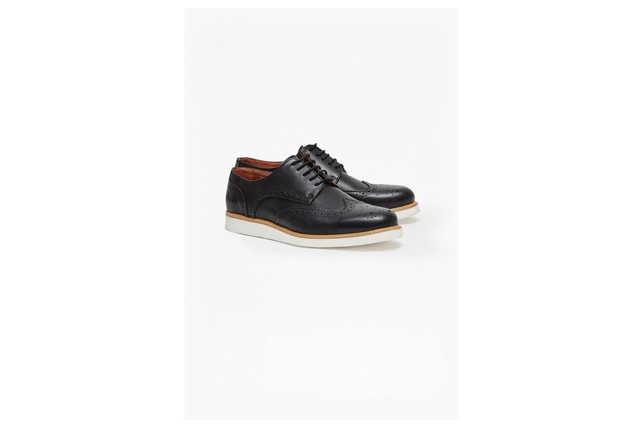 Casual Leather Brogue Shoes - black